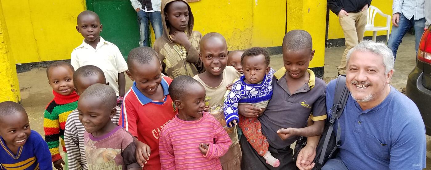 Dr. Bustamante with Rwandan Kids