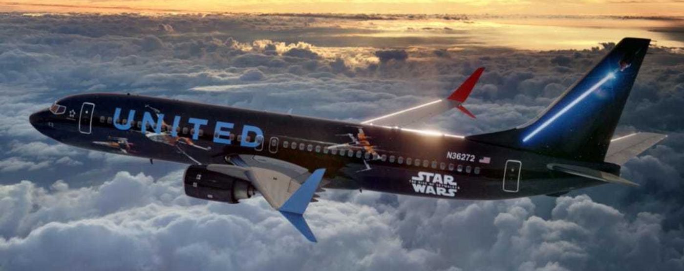 United Airlines Star Wars plane flying through the sky