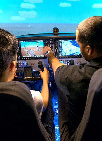 Aviation students in simulator