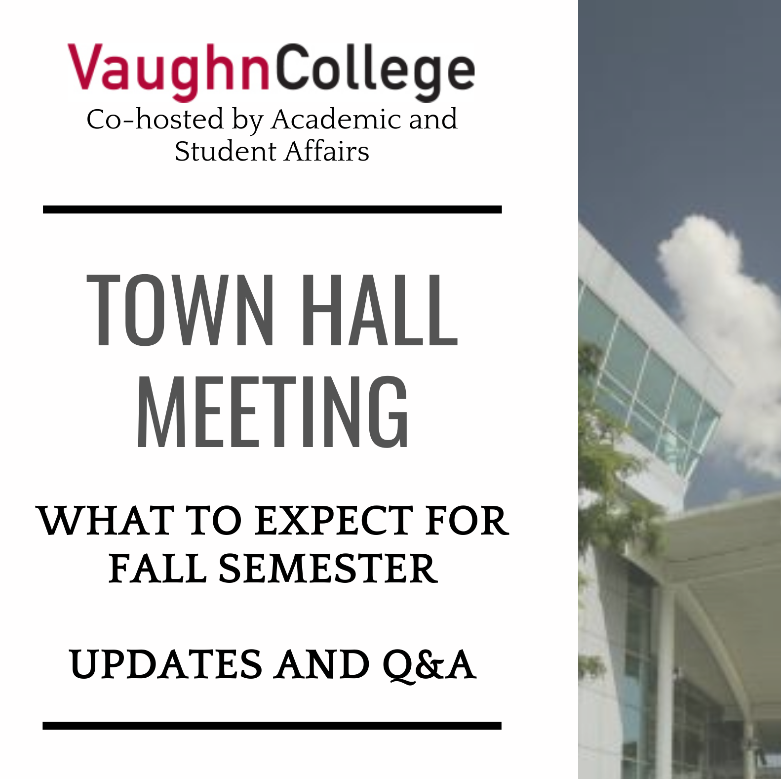 Vaughn Hosts Town Hall to Address What to Expect for Fall Semester
