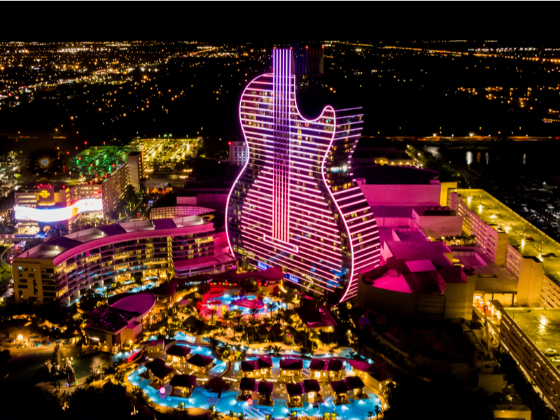 Hard Rock Hotel Guitar at night