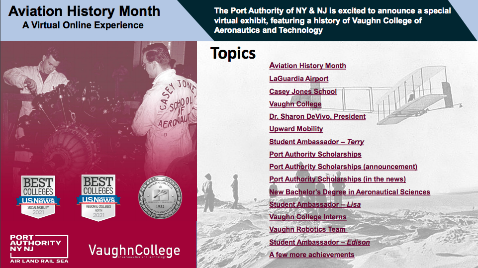 Vaughn Featured in The Port's Virtual Exhibit for Aviation History Month